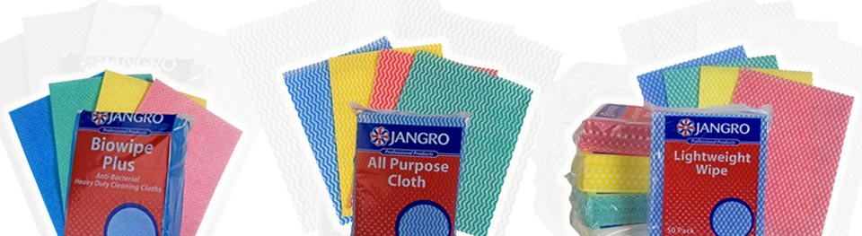 Jangro disposable wipes include Biowipe Plus, All Purpose Cleaning Cloth and Lightweight Wipe
