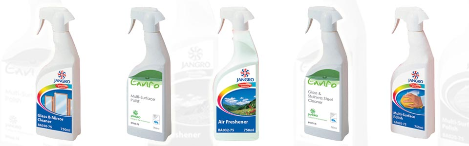 A selection of Jangro housekeeping cleaning chemicals ideal for office cleaning