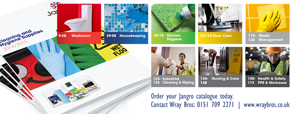 Jangro Catalogue covers all aspects including Washroom Supplies, Kitchen Hygiene Floor Care, Waste Management Industrial Cleaning & Wiping, Nursing & Care  Health & Safety, PPE & Workwear