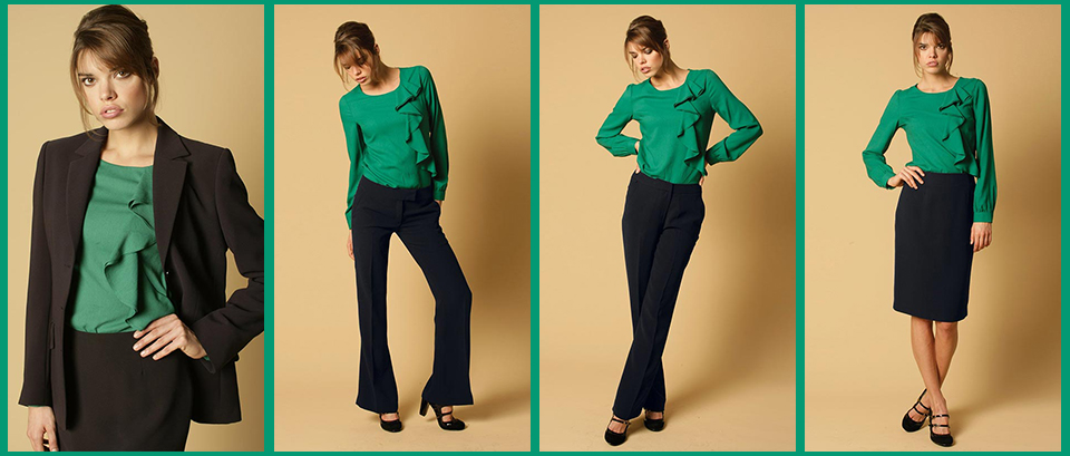 ladies corporate clothing includes machine washable jackets, trousers, skirts, plain and patterned blouses