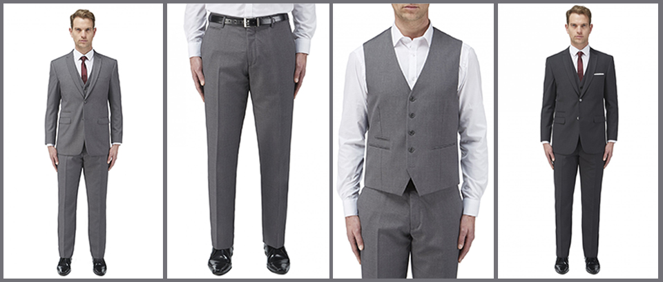 Mens corporate wear includes the 'tailored fit' Malham Jacket, Trousers & Waistcoat in Black, Charcoal, Grey & Navy