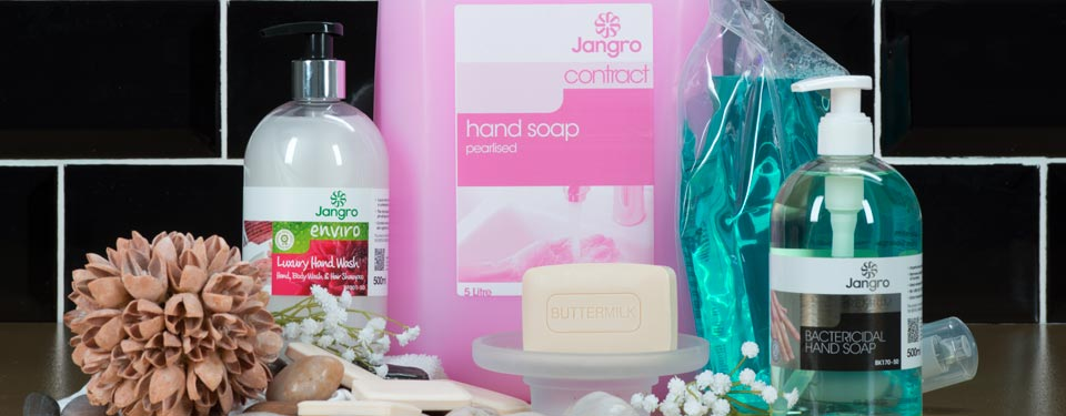 A selection of hand soaps from Jangro, including Contract Pearlised Hand Soap,  Bactericidal Hand Soap, Enviro Luxury Hand Wash and Moisturising Foam Soap